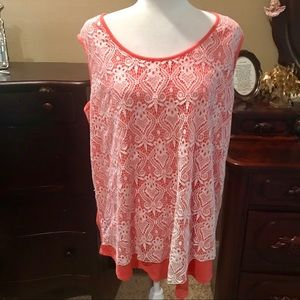 New Directions Coral With White Lace Overlaid Top